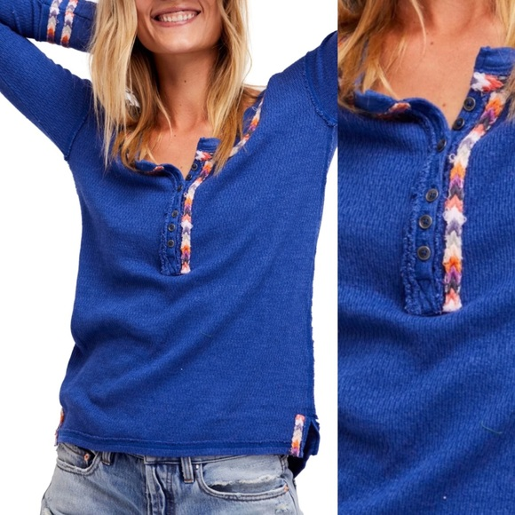Free People Rainbow Thermal Henley Pullover Sz XS